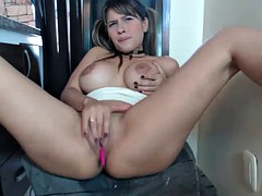 hot big tits latina camgirl uses all fingers to squirt