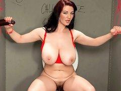 Sensual big-boobed hottie Vanessa Y. is sucking a big dicks in the gloryhole