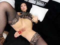 Slim Oriental milf in stockings fucks her ass with a big toy