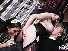 Rich ladies fuck the help in a mansion