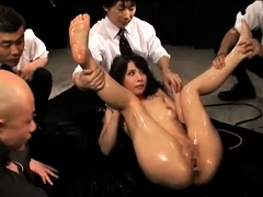 Helpless Japanese babe gets used by a group of horny guys
