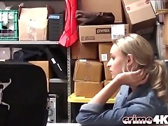 Blonde chick gets interviewed and fucked in a messy office