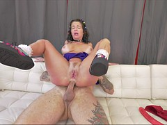 veronica avluv's legs tremble as she anally rides his meaty gadget