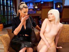 Angelic models Conchita and Miss Melissa are fucking on the sofa