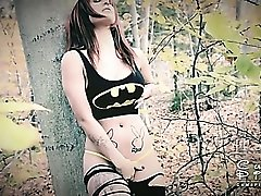 Curvy solo goddess stripping and teasing in the woods