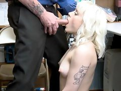 Blonde is caught stealing so she'll have to bang a security officer for her freedom