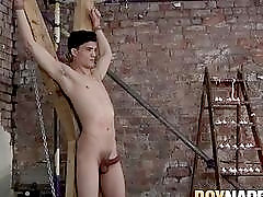 Bound submissive jerked off by merciless maledom
