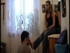 Footgirls order slaves to smell their feet