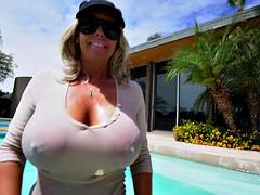 Busty blonde MILF swallows a big boner in POV