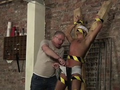 Gay porn small butts Blindfolded, gagged, d and flogged, the