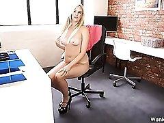 Curvy solo secretary treats you to a striptease