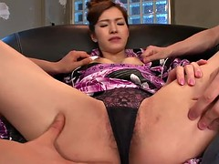 twin threesome with a sexy slut and two misers
