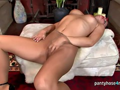 pantyhose - brunette in pantyhose is masturbating