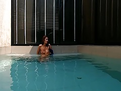 VRpussyVision.com - Outdoor Pool hot tits and fingering