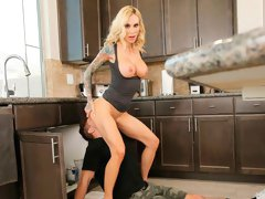 Sensual blonde with tattoos Sarah Jessie gives a passionate blowjob