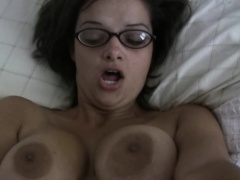 Nerdy amateur fingered and fucked