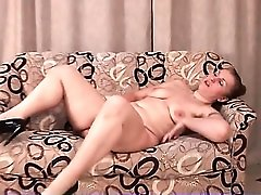 Hairy cunt mom with a fat ass masturbates
