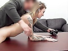 Skinny slut does her first anal video with a casting guy