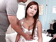 Cute dress on Japanese teen in threesome