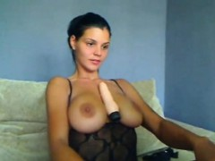 Brunette babe showing her hot tits on webcam