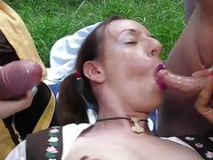 crazy deepthroat loving german girl gundula pervers gets rough outdoor anal oktoberfest group banged