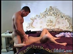 Busty minx rides a thick meat pole