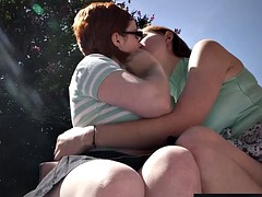 Hairy lesbian outdoor fuck redheads