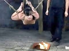 Bound slut Elise Graves gets roasted by master BDSM porn