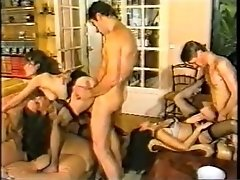 Two Cocky Freaks Amuse With Amoral Whores In Black Stockings