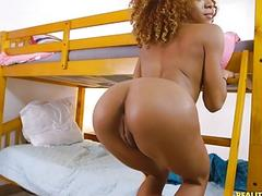 Curly haired ebony babe has hardcore sex on bunk bed