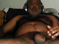 Hot black bear stroking