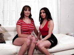 Cute brunettes Darcie Dolce and Lexi Luna are fucking on the sofa