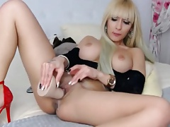 Hot Blonde In Heels Toys Ass On Cam