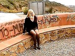 MILF Blonde Slut Outdoors Wearing Pantyhose Strap On Vibrator