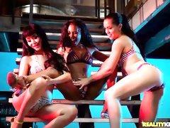 Three chicks Alina Lopez, Ajaa Xxx and Marica Hase are fucking in the bedroom