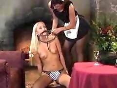 Lesbian slave massaged and whipped by lezdom mistress BDSM porn