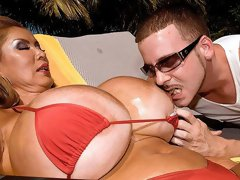 Oiled mademoiselle with giant tits Minka wants a long penis