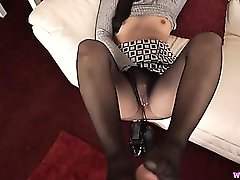 POV footjob from a beautiful girl in pantyhose