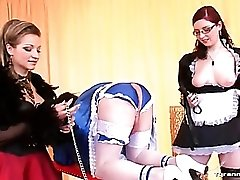 Sissy maid guy takes dildo up the ass