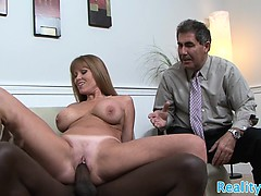 Busty milf cuckolds her husband with bbc