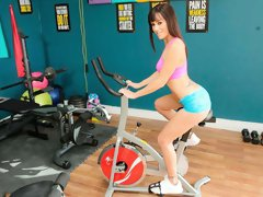 Big-boobed brunette Alana Cruise fucked hard in the gym