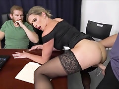 Cory Haunt is dressed in nothing but dark-hued stocking while getting a rear penetrate in her office