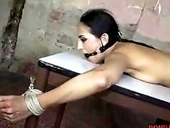 Big ass bitch tied up on table and fucked BDSM