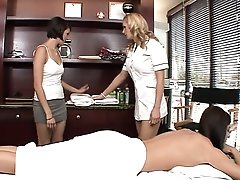 India Summer gets a sexy massage from two girls