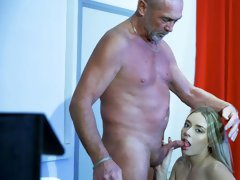 Rich old man is fucking a passionate brunette babe Danielle Soul