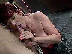 Young man makes a horny mature woman's dreams come true