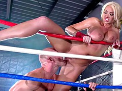 Boxing ring fuck of a huge tits milf