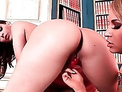 Eve Angel bent over for rimjob from a girl