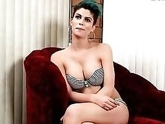 Beautiful ladyboy with great tits masturbates