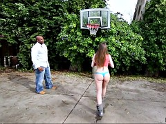brooklyn chase posing and playing basketball outdoor